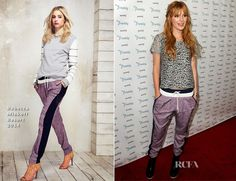 Bella Thorne.. Rebecca Minkoff Resort 2014 'Skyline' metallic-silver-and-black crochet top and 'Malone' tweed pants..