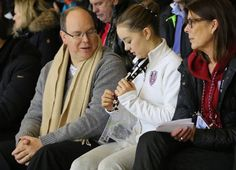 royal watcher:  Prince Albert, Princess Alexandra and Princess Caroline at the European Youth Olympic Festival, January 28, 2015