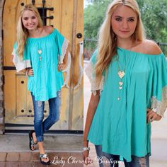 """https://instagram.com/ladycherokeeboutique Good Vibes TURQUOISE WITH CROCHET SLEEVE TUNIC ✨Chandler is wearing a Small✨ ✨ This top runs very loose fitting✨ Price: $34.00, Free Shipping Qty: 2 small(6/8), 2 medium(8/10), 2 large(10/12) Please comment """"Sold, size, and quantity needed, as well as your email to purchase. Also, you must let us know what state you live in, before we can invoice you!"""