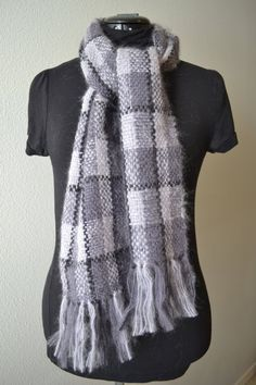 Soft and warm mohair scarf. Unisex colors. Perfect for winter.  https://www.etsy.com/listing/228160327/handwoven-mohair-scarf-gray-and-black