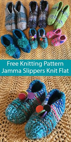 Free Knitting Pattern for Jamma Slippers Knit Flat Sizes Toddler to Adult XL.Free Knitting Pattern for Jamma Slippers Knit Flat Sizes Toddler to Adult XL - Easy slippers for the whole family worked flat and seam# Adult Easy Knitting Patterns, Knitting Projects, Crochet Patterns, Knit Slippers Free Pattern, Knitted Slippers, Knitting Socks, Free Knitting, Knitting For Beginners, Knit Or Crochet