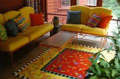 Kathy Cooper Floorcloths - Floorcloth Artist Author Teacher Workshops Exhibitor Fabulous color art on the floor! Painted Floor Cloths, Painted Rug, Painted Floors, Hand Painted, Repurposed Furniture, Painted Furniture, Arrange Furniture, Teacher Workshops, Outdoor Sofa