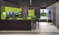 Magnificent Sleek Green Kitchen Design Ideas - Design Architecture and Art Worldwide White Kitchen Backsplash, Kitchen Wall Colors, Kitchen Countertops, Kitchen White, Green Kitchen Designs, Modern Kitchen Design, Layout Design, Design Ideas, Style Joanna Gaines
