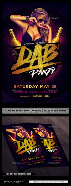 Dab Party Flyer Template PSD #design Download: http://graphicriver.net/item/dab-party-flyer-psd/14290485?ref=ksioks