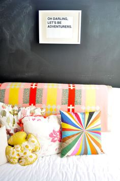 Chalk board paint on a main living room wall would be great for creative children and lovey newly weds!