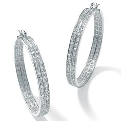 You're right on trend with magnificent double-row cubic zirconia eternity hoop earrings giving off 4.50 carats T.W. of g-Ri5y10bW
