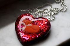 Fox Necklace Red Heart Glitter Heart Foxy Statement by isewcute