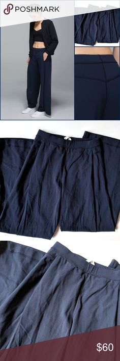 """Lululemon Forward Fold Trouser Pants Luon Inkwell Lululemon Forward Fold Trouser Pants Luon Inkwell Navy Wide Leg  Size 4  Measurements:  Waist: 12.5"""" Rise: 11"""" Inseam:  31""""   Condition: VGUC, some cling My items come from a smoke-free household, we do have a kitty, so an occasional hair may occur! lululemon athletica Pants Boot Cut & Flare"""