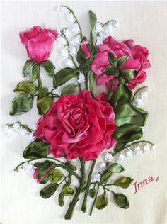 RP: Ribbon Embroidery: Pink Roses by Картинка