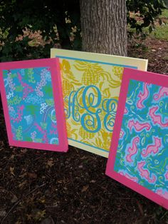 very cute monogrammed Lilly canvases