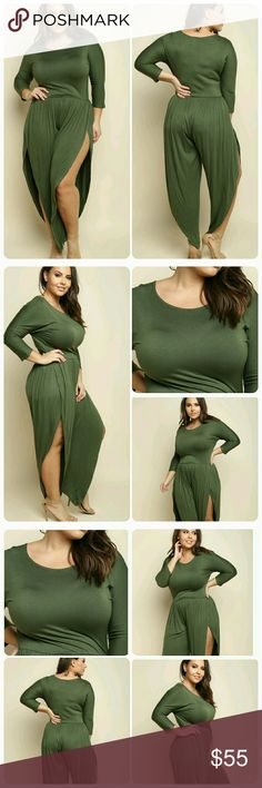 """Parachute Jumpsuit (1x, 2X, 3X) Gorgeous Olive Parachute Jumpsuit. Perfect for day or evening attire. Pair with heels, flats or sandals. Thank you and Happy Poshing!!! 94% Polyester 6% Spandex. Model is 5.9 / Bust 38"""", Waist 33"""", Hip 46"""" Wearing 1X. Thank you and Happy Poshing!!! *Available March 6th* Pants Jumpsuits & Rompers"""
