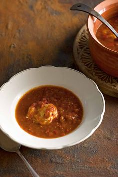 From the town of Trujillocomes this fresh and lightly spiced soup. It is made when tomatoes are at their most bountiful — in other words it's a way of using up really ripe tomatoes.
