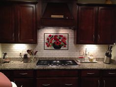 Backsplash Designer floral kitchen backsplash (red poppies) | designer glass mosaics