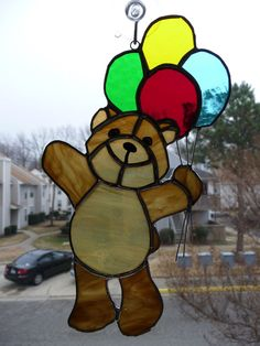 Stained Glass Teddy Bear with Balloons. $18,00, via Etsy.