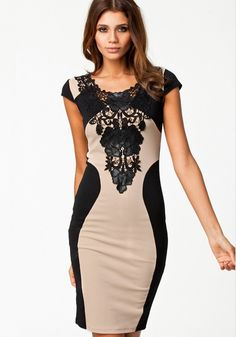 Love! Love! Love! Want! Want! Want! Sexy Black Lace and Beige Floral Lace Round Neck BodyCon Cotton Dress #Sexy #BodyCon #Black_Lace #Fashion