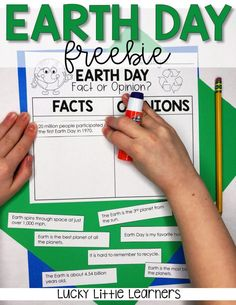 Grab this free Earth Day fact and opinion worksheet to help your students learn more about our planet and the Earth Day holiday. This Earth Day free worksheet is perfect for a quick independent activity in your classroom. Earth Day Worksheets, Earth Day Activities, Summer Activities, Fact And Opinion Worksheet, Earth Day Facts, First Earth Day, Paragraph Writing, Happy Earth, Little Learners