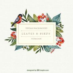feuilles de l'aquarelle et de fond des oiseaux