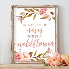 Tribal Rose - In A Field of Roses She Is A Wildflower - Print #Kidsrooms