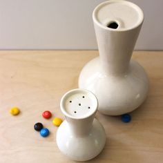 Mid century modern ceramic condiment bottle and shaker by Kultur