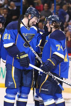 My favorite Bromance --- St. Louis Blues players Patrik Berglund and TJ Oshie.  LONG LIVE THE NOTE!!