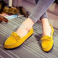 Women's Shoes Flat Heel Comfort Round Toe Winter Warm Loafers Casual