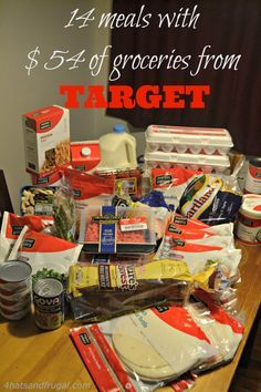 14 meals made with $54 of groceries from Target - This blogger shares the complete meals she made from this awesome score, with no paper coupons! #grocerysavings