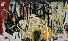 """Eugeniusz Minciel """"Bez tytułu"""", 1995, akryl na płótnie, 280 x 175 cm"""