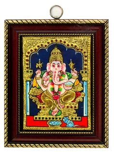 Ganesh Tanjore Painting - 22 carat Gold Foil decoration - 8 In x 10 In