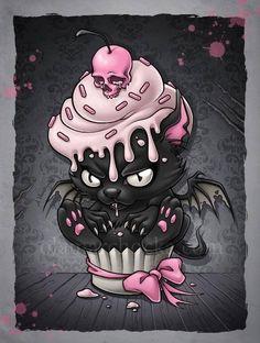 Omg I want this tattooed on my shoulder sooo freaking cute! Bat and cupcake