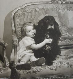 Antique real photograph girl with dog 1920s by DogDayAfternoons