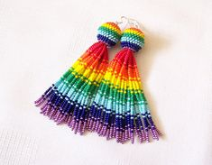 Wonderful beaded tassel earrings, statement earrings, bold and feminine. These earrings are absolutely unique and you will be noticed wherever you go. Made of high quality seed beads and sterling silver hooks. Earrings length - 4 inches (10 cm). This is the whole length of earrings - from the Beaded Earrings Patterns, Beaded Tassel Earrings, Bead Earrings, Statement Earrings, Beaded Bracelets, Seed Bead Jewelry, Seed Beads, Beaded Jewelry, Earring Crafts