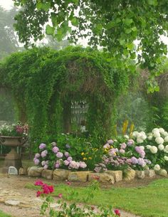 Rustic cottage style room with vines and hydrangeas