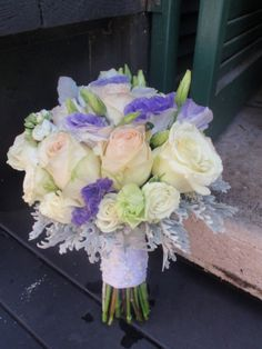 Bouquet for Cindy...lavender lisianthus, roses and dusty miller