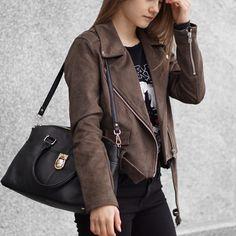 A Little Detail - Moto Suede Jacket // Graphic T-Shirt // Black Skinny Jeans // Calvin Klein Satchel // #fallfashion #womensfashion #outfit #suedejacket