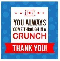 Crunch Bar Candy Bar Sayings, Candy Quotes, Volunteer Appreciation Gifts, Employee Appreciation, Teacher Treats, Teacher Stuff, Crunch Candy Bar, Birthday Countdown, Team Activities