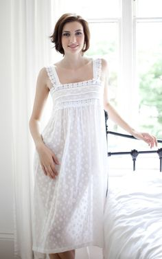 81cf8d504 Modern nightgown - Fia Cotton Lawn PolkaDot Strappy Nightdress