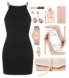 """""""RKY #1"""" by rkingy ❤ liked on Polyvore featuring Baccarat, Topshop, Stuart Weitzman, GUESS, Tory Burch, Chanel, NARS Cosmetics, NARS and pinkandblack"""