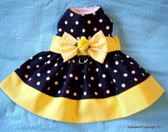Yellow Banded Polka Dot Harness Dress for Dogs by mypupstuff You are in the right place about Pet fa Yorkie Clothes, Pet Clothes, Dog Clothing, Dog Dresses, Dress Outfits, Dog Clothes Patterns, Designer Dog Clothes, Pet Fashion, Girl And Dog