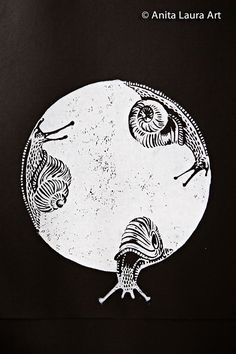 Snails - Linocut block ink print
