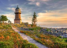 The Lighthouse. The Bergudden Lighthouse on Holmön outside Umeå, Västerbotten, Sweden. By: Håkan Johansson