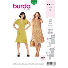 Misses Wrap Dress Burda Sewing Pattern 6238 from Sew Essential. Burda Sewing Patterns, Dress Patterns, Pattern Dress, Sewing Ideas, Casual Day Dresses, Summer Dresses, Burda Couture, Dressmaking Fabric, Wrap Dress