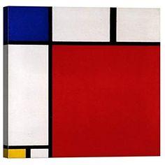 Quadro Stampa su Tela con Telaio in Legno Piet Mondrian Composizione con Rosso Blu e Giallo 60x60 CM Wallpaper Warehouse, Piet Mondrian