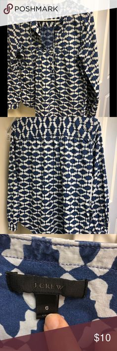 """J. Crew  cotton tunic J.Crew💯 cotton tunic. Chest 21 1/2"""", length 25-26"""".  Ikat print. Tie front at neck. Smoke and pet free home. J. Crew Tops Blouses"""