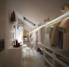 Holy Moly- awesome walk in closet for attic. Love the lighting and built in vanity. Great use of low ceiling space. Holy Moly- awesome walk in closet for attic. Love the lighting and built in vanity. Great use of low ceiling space. Attic Loft, Loft Room, Closet Bedroom, Attic Office, Garage Attic, Loft Closet, Attic Library, Attic Ladder, Bedroom Girls