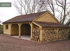 My Shed Plans - Daz - This wood store at the end of the workshop might be more sensible so the wood is protected from the prevailing wind and rain. - Now You Can Build ANY Shed In A Weekend Even If You've Zero Woodworking Experience! Firewood Storage, Shed Storage, Garage Storage, Carport With Storage, Storage Area, Storage Design, Cheap Log Cabins, Carport Garage, Jeep Garage