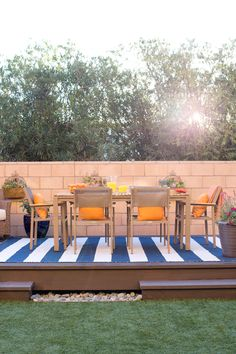This solid teak dining set makes a great addition to any patio. Enjoy entertaining friends and family for years to come with the durability of weather resistant teak wood.
