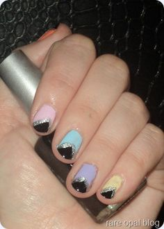 Triangle tipped nails (done with tape)