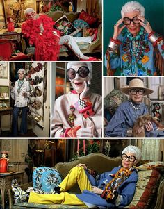 Iris Apfel. This woman is 92 years old and has more style than absolutely anyone I have ever heard of. You go, Iris!!! :)