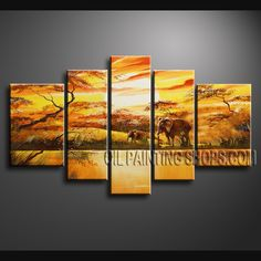 Colorful Contemporary Wall Art Oil Painting On Canvas Gallery Stretched Africa Landscape. This 5 panels canvas wall art is hand painted by Bo Yi Art Studio, instock - $158. To see more, visit http://OilPaintingShops.com