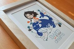 swim to your dreams -  now available on etsy: https://www.etsy.com/listing/160231289/swim-to-your-dreams-girl-version